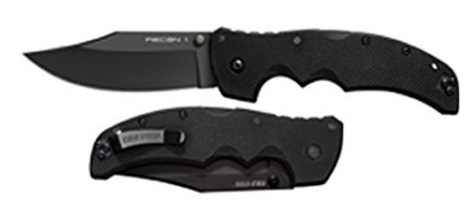 Cold Steel Recon 1 Tactical Knife with G-10 Handle Clip Point and Black Blade