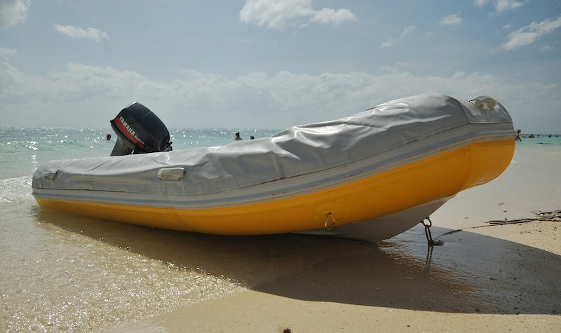 pic of an inflatable boat for lake fishing