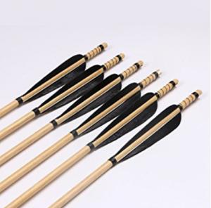 Huntingdoor Black Feather Wooden Shaft Arrow