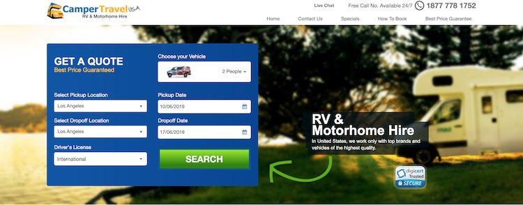 rent an RV at CamperTravel USA