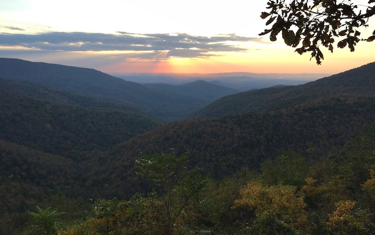 sunset in the Smokey Mountains a great RV destination
